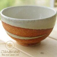 松助窯やきしめ白萩ウエーブご飯茶碗