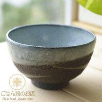 松助窯黒ミカゲ均窯ウェーブご飯茶碗