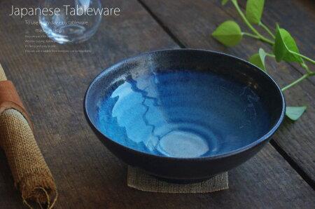 青渦黒釉ろくろ目ラーメン鉢