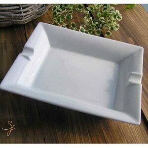 テーブルアッシュトレー (白い食器,洋食器,陶器,皿,灰皿,長角)