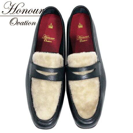 Honour Ovation(アナーオベーション)コインローファー【Black/Wool】【黒/ブラック】【羊毛/ウール】【メンズ】芸能人も多数愛用【雑誌OCEANS・WOOFIN' 掲載ブランド!】2016年秋冬新作【1000】【送料無料】