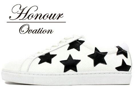 Honour Ovation(アナーオベーション) ローカットSTARデザインスニーカー【メンズ】【White/白/black/黒】、【雑誌OCEANS・WOOFIN' 掲載ブランド】【3030】【星】【シューズ/ブーツ】【送料無料】