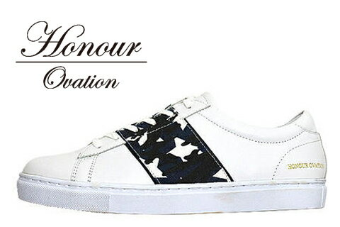 Honour Ovation(アナーオベーション) レザーデザインスニーカー【メンズ】【White/白】【Denim/Camouflage/Star】【4040】【2018春夏新作】【雑誌OCEANS・WOOFIN' 掲載ブランド】【ローカット】【デニム】【星】【カモ柄】【シューズ/ブーツ】【送料無料】