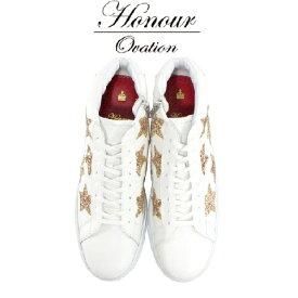 Honour Ovation(アナーオベーション)ハイカットSTARデザインスニーカー【メンズ】【白/ホワイト】【3070-White/Gold】【3070】【雑誌OCEANS・WOOFIN' 掲載ブランド】【金/ゴールド】【星】【シューズ/ブーツ】【ユニセックス】【送料無料】