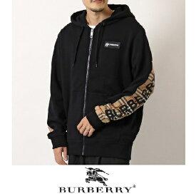 BURBERRY(バーバリー)ジップアップパーカー【ロゴプリント】【ヴィンテージチェックパネル】【コットン】【8025684】【メンズ】【黒/ブラック】【2020年秋冬新作】【送料無料】