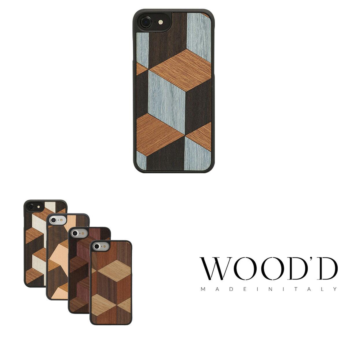 Wood'd iPhone8 iPhone7 iPhone6 ケース Real wood Snap-on covers GEOMETRIC ウッド 【 アイフォン スマホケース スマートフォン カバー 木製 ハンドメイド イタリア製 】[bef][PO10][即日発送]