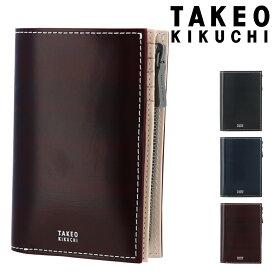 タケオキクチ 二つ折り財布 ミニ財布 フォード メンズ 732604 TAKEO KIKUCHI | 牛革 本革 レザー コードバン調[PO5][bef]
