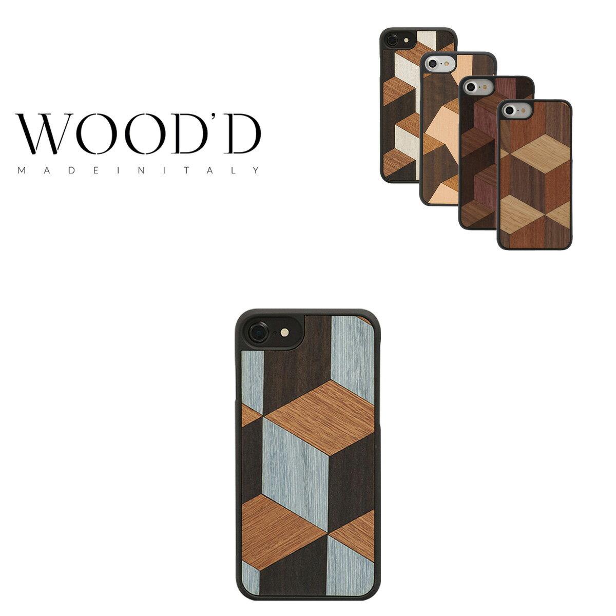 Wood'd iPhone8 iPhone7 iPhone6 ケース レディース メンズ 木製 イタリア製 アイフォン スマホケース スマートフォン カバー ハンドメイド Real wood Snap-on covers GEOMETRIC ウッド 【PO10】【bef】【即日発送】