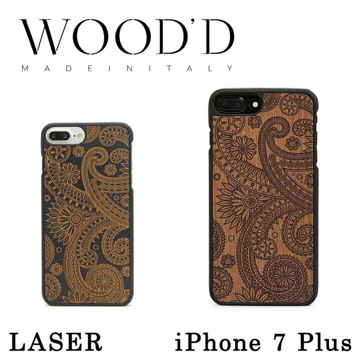 Wood'd iPhone8Plus iPhone7Plus iPhone6Plus ケース レディース メンズ 木製 イタリア製 アイフォン スマホケース スマートフォン カバー ハンドメイド Real wood Snap-on covers LASER ウッド 【PO10】【bef】【即日発送】