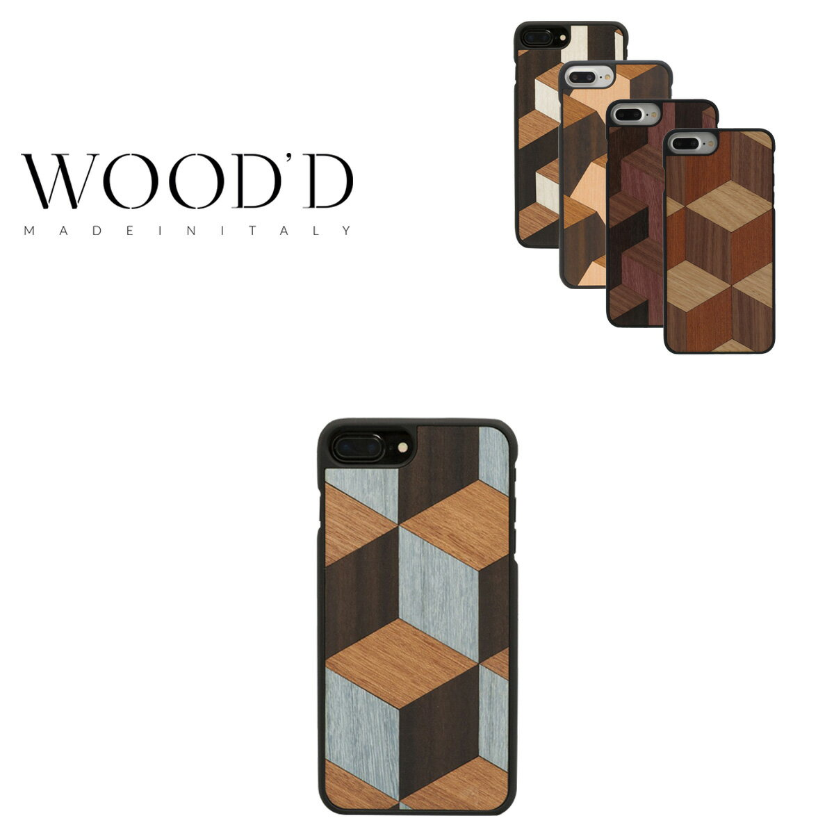 Wood'd iPhone8Plus iPhone7Plus iPhone6Plus ケース レディース メンズ 木製 イタリア製 アイフォン スマホケース スマートフォン カバー ハンドメイド Real wood Snap-on covers GEOMETRIC ウッド 【PO10】【bef】【即日発送】