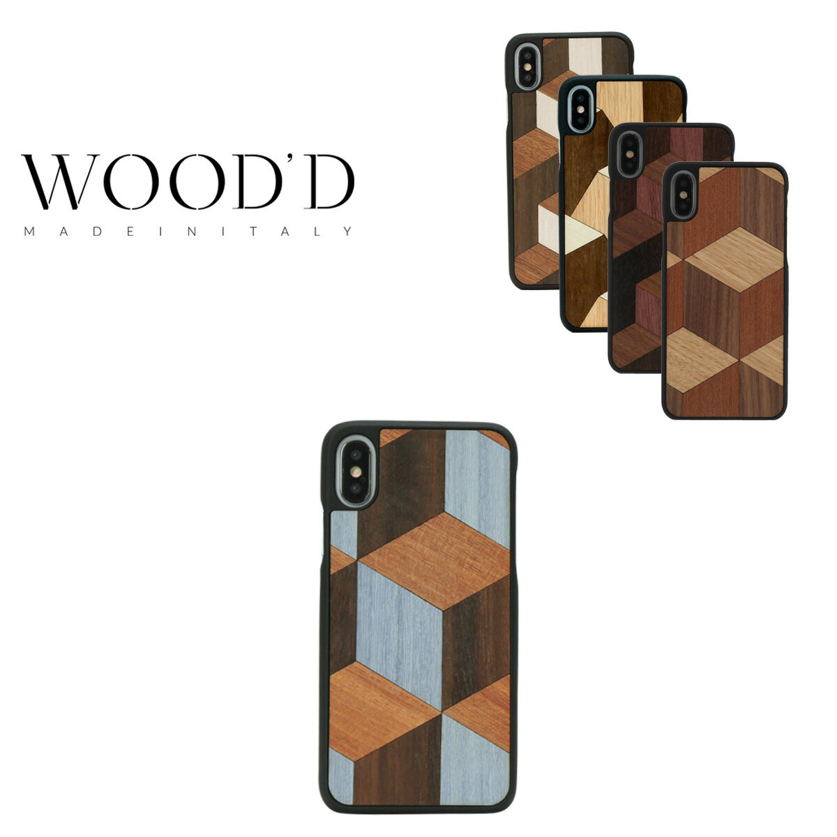 Wood'd iPhoneX ケース レディース メンズ アイフォン スマホケース スマートフォン カバー Real wood Snap-on covers GEOMETRIC ウッド 【PO10】【bef】【即日発送】