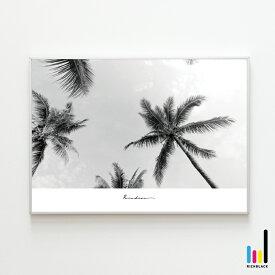 Paradise モノトーン ポスター [ A4 ]ヤシの木 柄 ビーチ 海 波 ハワイアン サーフ サーフィン アートポスター インテリア ショップ 雑貨 写真 プリント モノクロ 白黒 シンプル 自然 大判 特大 フレーム ナチュラル インテリアアート 壁掛け おしゃれ カフェ