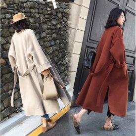 女性らしいゆったりデザインのコート 基本の3色展開 ドロップショルダー スリット 長袖 デート OL 通勤 オフィス カジュアルにも da0129