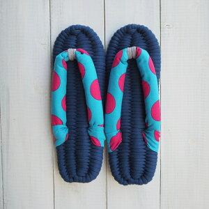 WL019_M(約24cm)                 布ぞうり 布草履 プレゼント ギフト スリッパ 室内履き 母の日 かわいい おしゃれ 水玉 父の日 水玉 お祝い