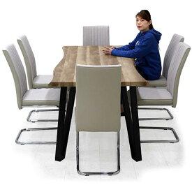 食卓セット 6人掛け ダイニングテーブルセット 7点セット 高級感 木製 合成皮革 リビング家具 なぐり加工 食卓 おしゃれ 幅180 カンティレバー ブラウン グレー ハイバック仕様 ダイニングテーブル ダイニングチェア おしゃれ チェア完成品 北欧 楽天 送料無料