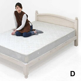 ダブルベッド カントリー家具 白 マットレス付 天然木 パイン材 ダブルベット カントリー調 ボンネルコイルマットレス すのこベッド 頑丈すのこベッド ホワイト色 ベッドフレーム ダブル 脚付き おしゃれ 可愛い 木製ベッド