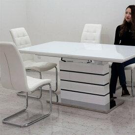 伸長式 伸縮 ダイニングテーブルセット ダイニングセット ガラステーブル 5点 4人掛け ホワイト 白 鏡面 160×85 200×85 大判 ハイバックチェア 北欧 モダン おしゃれ シンプル スタイリッシュ 家具送料無料