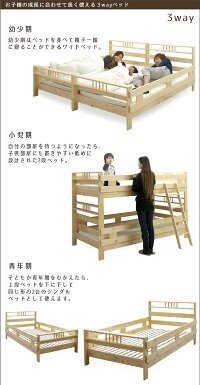 2段ベッド二段ベッドシングルフレーム単体フィンランドパイン無垢天然木高さ139cmカントリー調分離可能キングサイズワイドベッド3WAYキッズ用子供地震対策すのこベッドスノコ木製楽天通販送料無料