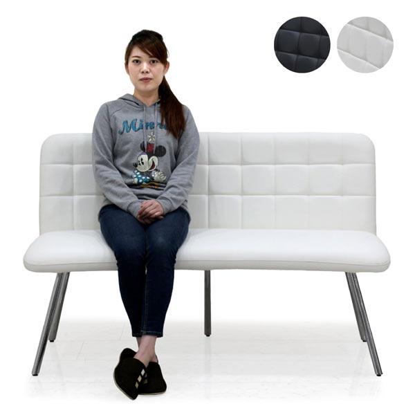 ダイニングベンチ 高級感 3人掛け 3Pソファー 食卓ベンチ 合成皮革 ステンレススチール 選べる2色 ホワイト ブラック 幅142 組立品 アジャスター付き シャープ 楽天 送料無料