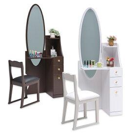 ドレッサー 姿見 コンパクト 一面鏡 白 鏡台 メイクドレッサー 化粧台 チェア付き 光沢 艶 姿見ドレッサー 姿鏡 コンセント付き 丸形 ミラー 姿見鏡 ホワイト ブラウン シンプル モダン おしゃれ