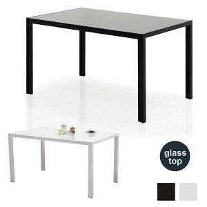 ガラステーブル ダイニング ダイニングテーブル おしゃれ 白 黒 幅135cm 135x80 食卓テーブル テーブル単品 強化ガラス スチール脚 ガラストップ ガラス天板 ホワイト ブラック 高級感 モダン