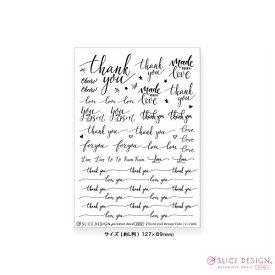 《ポーセリンアート用転写紙/白磁用》[Thank you]Message Flake/[Thank you]メッセージフレーク 1枚【5枚までネコポス配送OK!】〜SLICE DESIGN(スライスデザイン)〜
