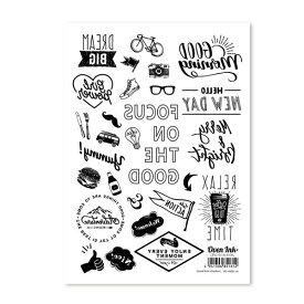 〜自宅で簡単に焼き付けできる転写紙〜Oven Ink(オーブンインク) カジュアル アイコン(アウトドア) A6サイズ 1枚スライスデザイン SLICE DESIGN【4個までネコポス対応可能!】