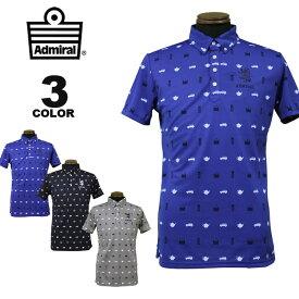 Admiral アドミラル ポロシャツ ALLOVER ICON POLO SHIRTS 半袖ポロ ゴルフ GOLF 全3色 M-LL メンズ