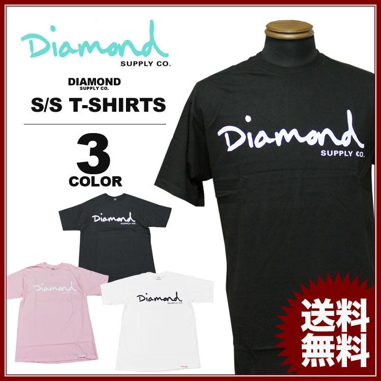 ダイヤモンドサプライ Diamond SUPPLY CO. Tシャツ OG SCRIPT 17 T-SHIRTS 黒 ブラック ピンク ホワイト 白 メンズ レディース