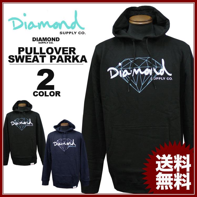 ダイヤモンドサプライ Diamond SUPPLY CO. スエット パーカ BRILLIANT SCRIPT SWEAT PARKA パーカー PULLOVER HOODIE 黒 ブラック ネイビー メンズ