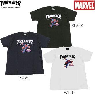 surassha THRASHER T恤T-SHIRTS短袖黑色黑深藍白白人Marvel SPIDERMAN MAG LOGO 1 surassha×MARVEL蜘蛛俠協作