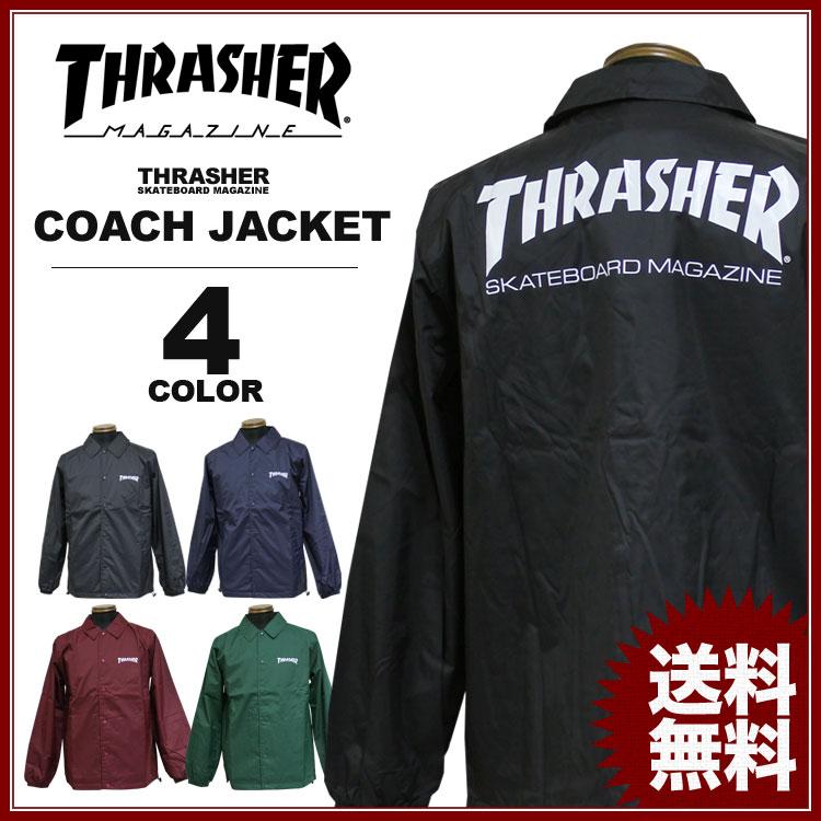 スラッシャー THRASHER コート MAG LOGO コーチジャケット メンズ レディース ナイロン 全4色 S-XL