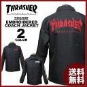スラッシャー THRASHER FLAME emb COACH JACKET コーチジャケット ブラック 黒 メンズ レディース