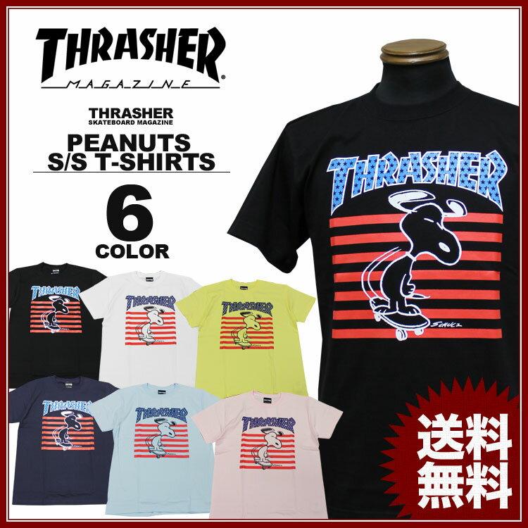 スラッシャー THRASHER キャラクター スヌーピー ピーナッツ Tシャツ メンズ レディース コラボプリント 全6色 S-XL