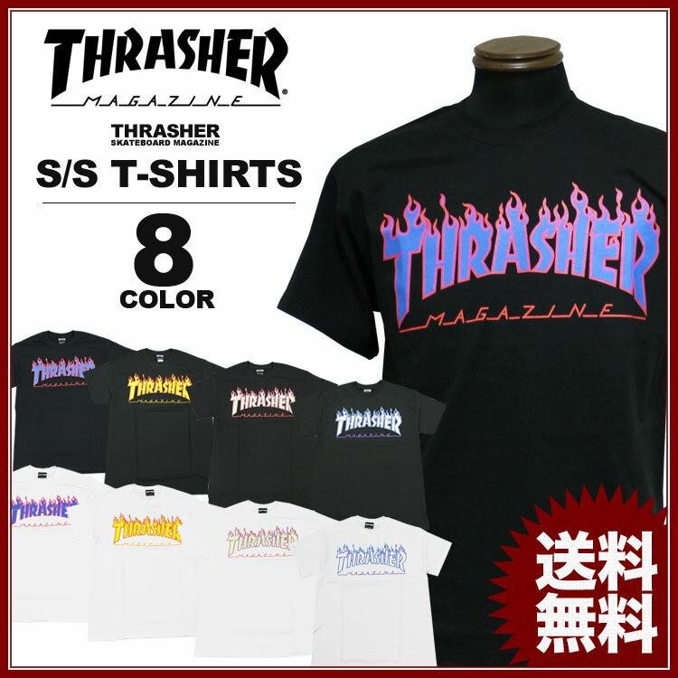 スラッシャー THRASHER ロゴT FLAME 3C Tシャツ メンズ レディース デザインプリント 全8色 S-XL