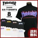 送料無料 スラッシャー THRASHER Tシャツ 半袖 ブラック 黒 ホワイト 白 メンズ FLAME 3C T-SHIRTS