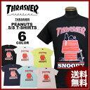 スラッシャー THRASHER Tシャツ 半袖 PEANUTS T-SHIRTS 3 スヌーピー SNOOPY ピーナッツ ブラック 黒 ホワイト 白 イ…