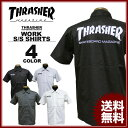 スラッシャー THRASHER ワークシャツ 半袖シャツ MAG LOGO S/S WORK SHIRTS ブラック 黒 ストライプ チャコールグレー…