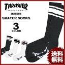 スラッシャー THRASHER スケーター ソックス MAG SKATER SOCKS 靴下 ブラック 黒 ホワイト 白 メンズ