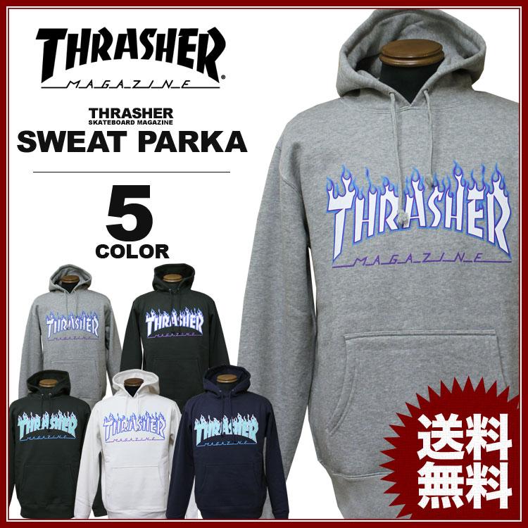 スラッシャー THRASHER トレーナー パーカー FLAME 3C スウェットパーカ メンズ レディース 定番裏起毛 全5色 S-XXL