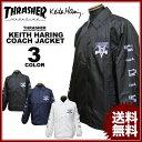 スラッシャー THRASHER コーチジャケット Keith Haring SKATE GOAT COACH JACKET キースへリング ブラック 黒 ネイビー ホワイト 白 メンズ レディース