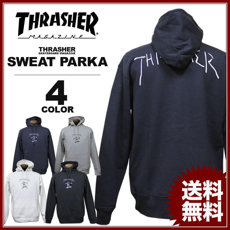 スラッシャー THRASHER トレーナー パーカー Gonz プリント プルオーバーパーカ メンズ レディース 裏毛スウェット 全4色 S-XL