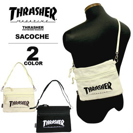 スラッシャー THRASHER サコッシュ MAG LOGO CANVAS SACOCHE ショルダーバック メンズ レディース ブラック 黒 アイボリー