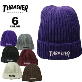 【公式】スラッシャー ビーニー ニット帽 THRASHER MAG LOGO RIB KNIT BEANIE CAP ニットキャップ メンズ レディース 全6色