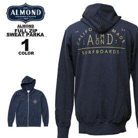 アーモンドサーフボードデザイン Almond Surfboards & Design CA DIAMOND SWEAT FULL ZIP PARKA ジップアップ フードスエット パーカ パーカー メンズ ネイビー