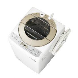 【標準設置込・送料無料】全自動洗濯機 シャープ SHARP ES-GV9D ゴールド系 洗濯 9Kg ダイヤカット穴なし槽 サイクロン洗浄 ガンコ汚れコース ほぐし運転 インバーター制御