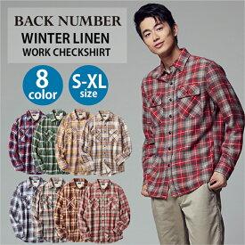 BACK NUMBER ウインターリネンワークチェックシャツ メンズRight-on,ライトオン,BN-4113009,BACK NUMBER,バックナンバー