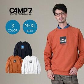 CAMP7 ボックスロゴクルーネックスウェット メンズ 登山 アウトドア アウトドアファッション 山登り キャンプ あったか おしゃれ ペア カップル ペアルック スウェット 長袖Right-on,ライトオン,CP-4214005,CAMP7,キャンプ7
