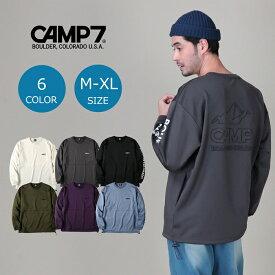 CAMP7 バックエンボスロゴロンT クルーネックロンT 長袖Tシャツ クルーネック ロングtシャツ 春服 秋服 無地 カットソー 長袖 おしゃれ ティーシャツ ペアルック 白 黒 メンズ M-XLRight-on,ライトオン,CP-4214004,CAMP7,キャンプ7