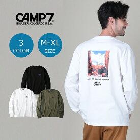 CAMP7 バックフォトロンT メンズ 全3色 長袖Tシャツ ロンティー カットソー メンズ Tシャツ おしゃれ アウトドア ブランド ブラック グレー ホワイト ペア カップル ペアルック お揃いRight-on,ライトオン,CP-4214002,CAMP7,キャンプ7